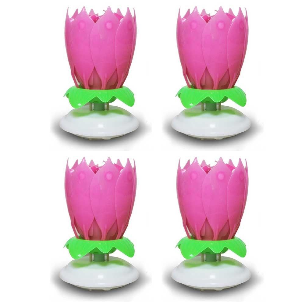 Amazing Birthday Flower Lotus Spin Music Candle With 14 Small