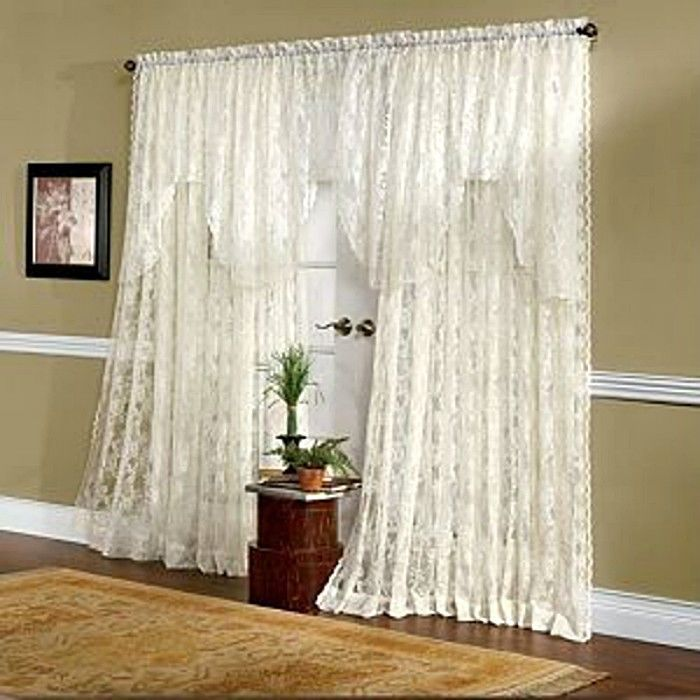 So Shabby Lace Curtains Extra Wide 120 X 84 Brand New Ivory