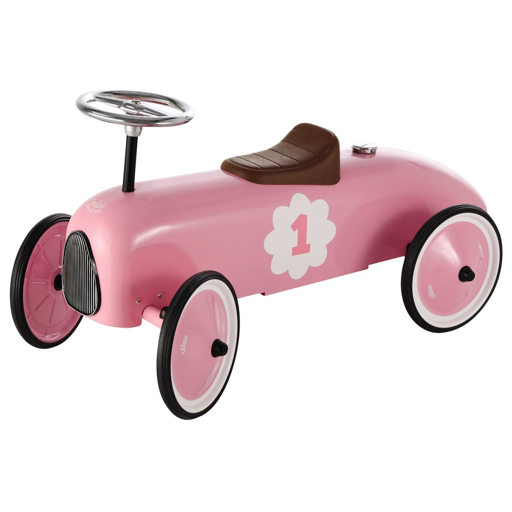 Kinderauto aus Metall rosa L 76 cm VINTAGE