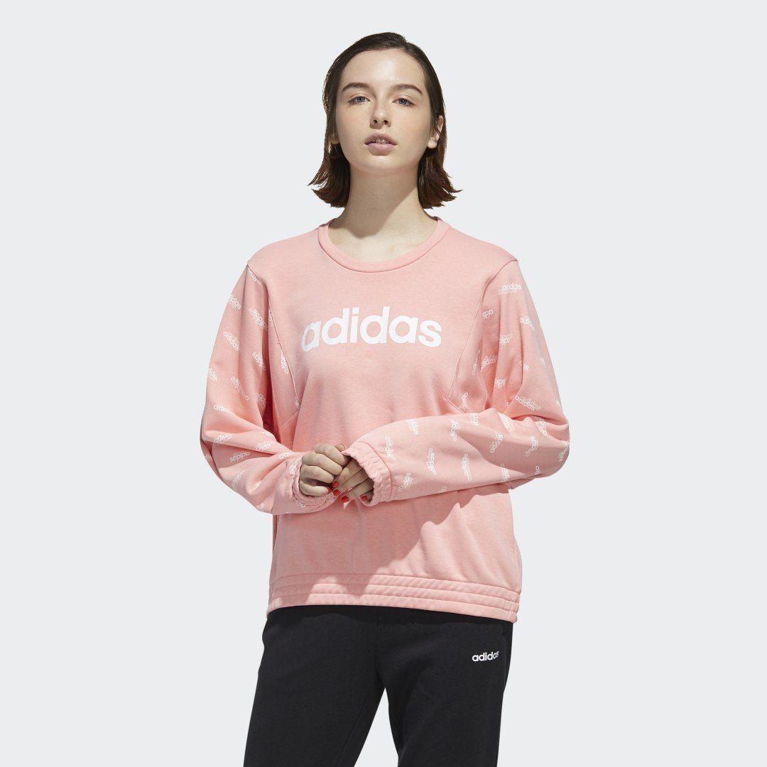 Adidas Favorites Sweatshirt Pink Adidas Us Sweatshirts Sportswear Women Printed Sweatshirts [ 1080 x 1080 Pixel ]