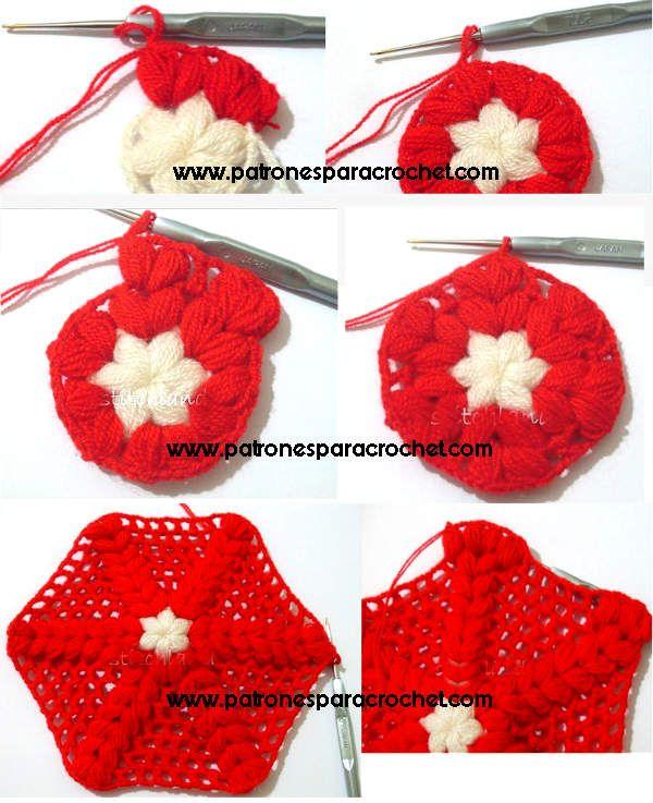 Cómo tejer hexágono crochet en punto puff / Paso a paso | Patrones ...