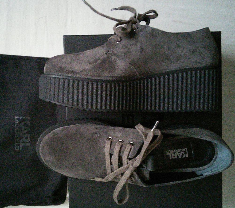 Karl Lagerfeld Leder Schuhe Kreeper Lace Up/ Derbies, Gr39, braunton/braungrau