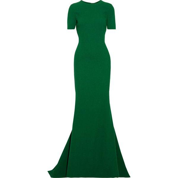 Open-back Wool-blend Crepe Gown - Forest green Oscar De La Renta Um4rqJ