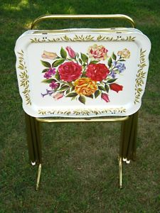 Nice 4 LG Vintage CAL DAK Metal Tole ROSE TV Trays W STAND