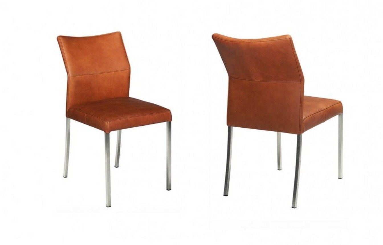 Stuhl Vierfuss Leder Cognac Stühle Sitzgelegenheiten