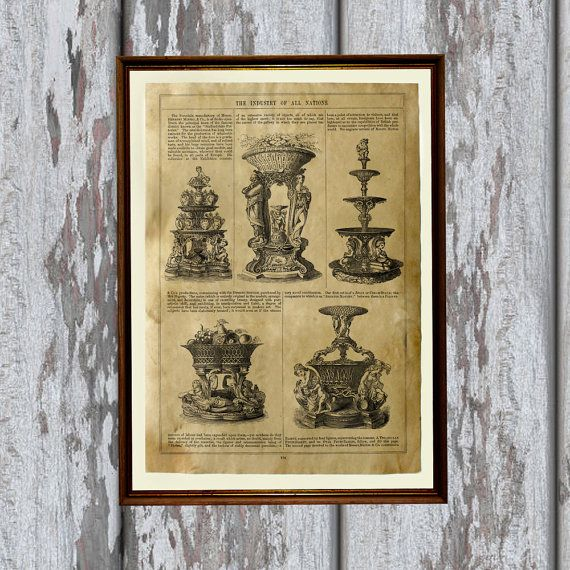Lovely Antique print. Beautiful Victorian art for your home and office. Cute Aged poster. Nice contemporary Parchment print.    SIZE: 8.3 x 11.7 inches