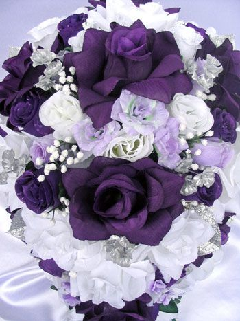 Purple Silver White   Roses and Dreams   Wedding Flowers/Bouquets ...
