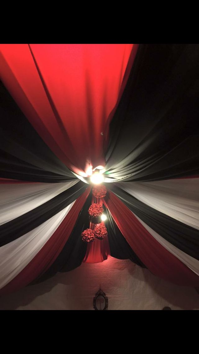 Black And Red And White Draping White Drapes Red And White Red