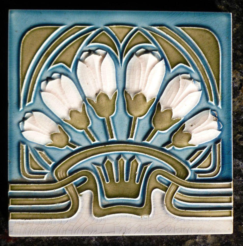 Jugendstil Fliese art nouveau tile tegel MOPF Blumen Blau