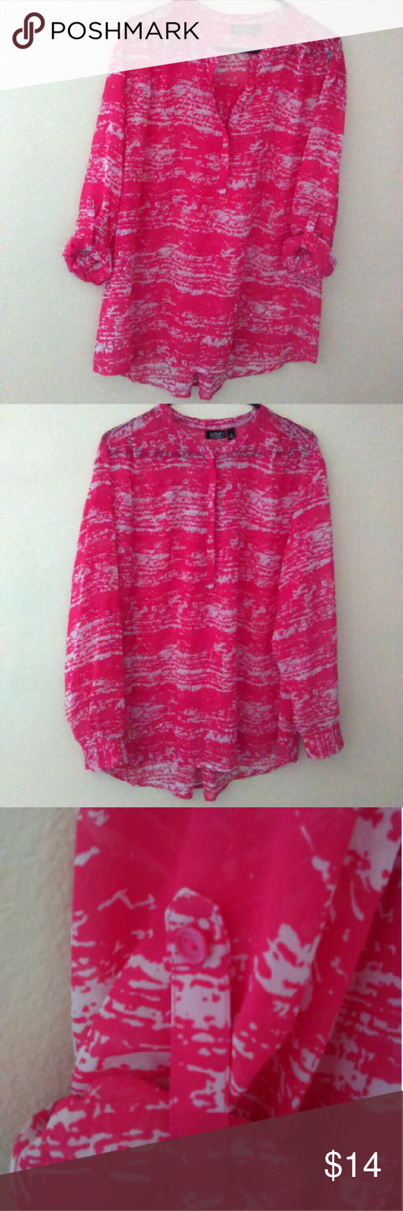 Hot Pink top Like New condition. Can be dressed up or down with roll tab sleeves and covered buttons down the bust. Pretty pleats on shoulders. Reasonable offers welcome or bundle and save. a.n.a Tops Button Down Shirts