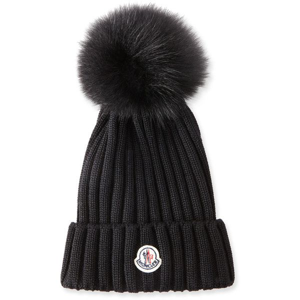 Moncler Ribbed Knit Beanie Hat W Fur Pompom 335 Liked On Polyvore Featuring Accessories Hats Accessories Hats B Knit Beanie Hat Wool Beanie Knit Beanie