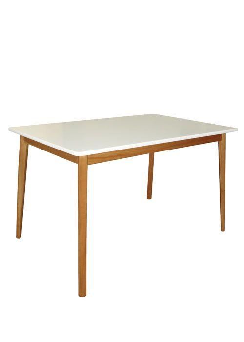 Mesa escandinava:tapa blanca laqueada mate y patas en tonos claros ...