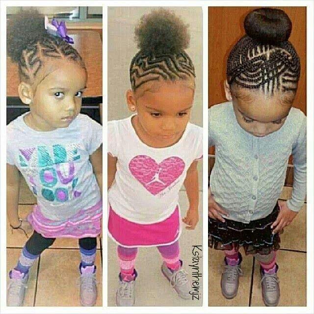 Various Cornrow Patterns Into A Puff Bun For Little Girls