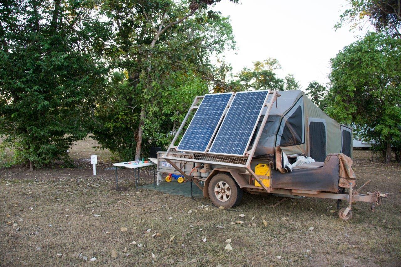 400w Of Permanently Mounted 12v Solar Panels On Our Camper Trailer No Power Shortages Camper Trailers Camper Van Life Diy Solar