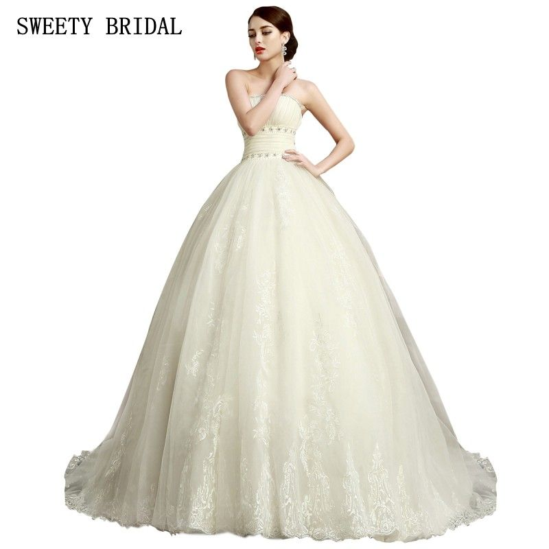 Find More Wedding Dresses Information about Strapless Ball Gown ...