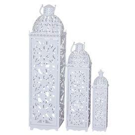 3-Piece Noelle Indoor/Outdoor Candle Lantern Set in White