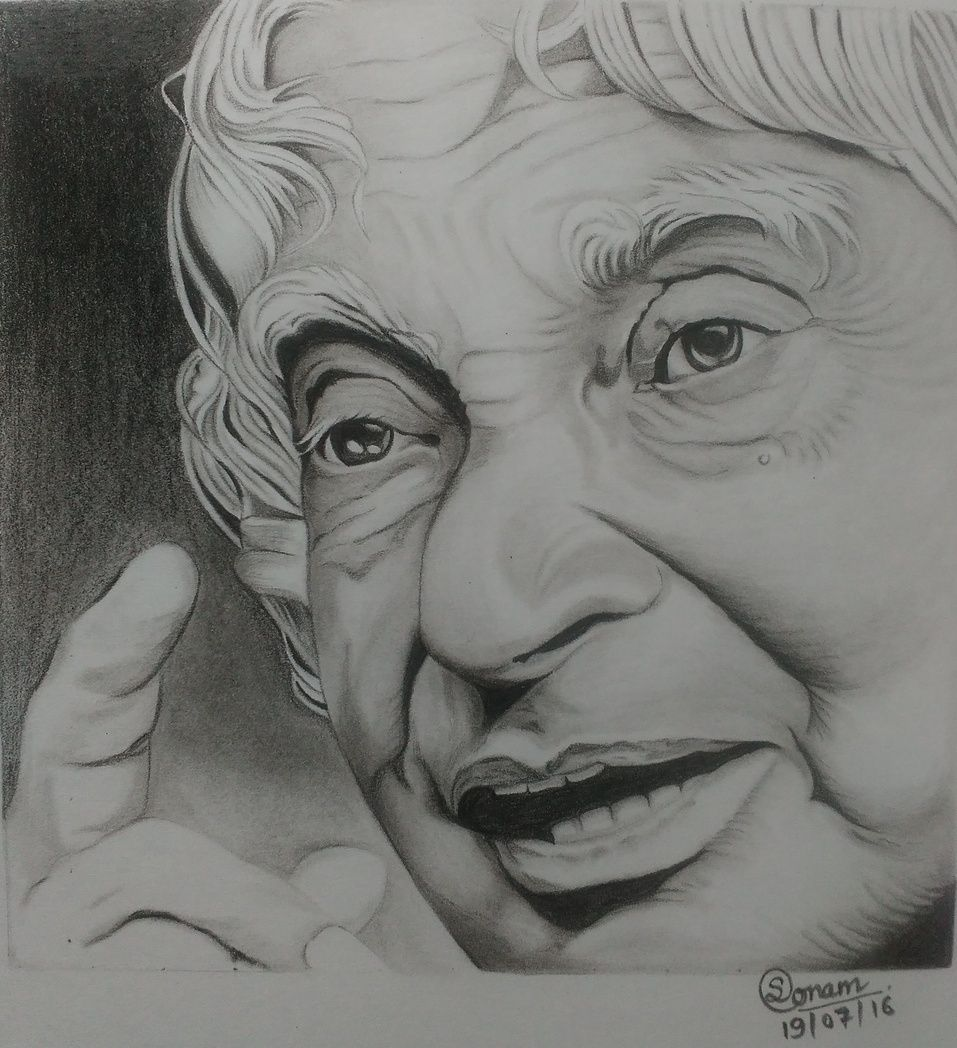 Charcoal pencil drawing in memory of dr a p j abdul kalam