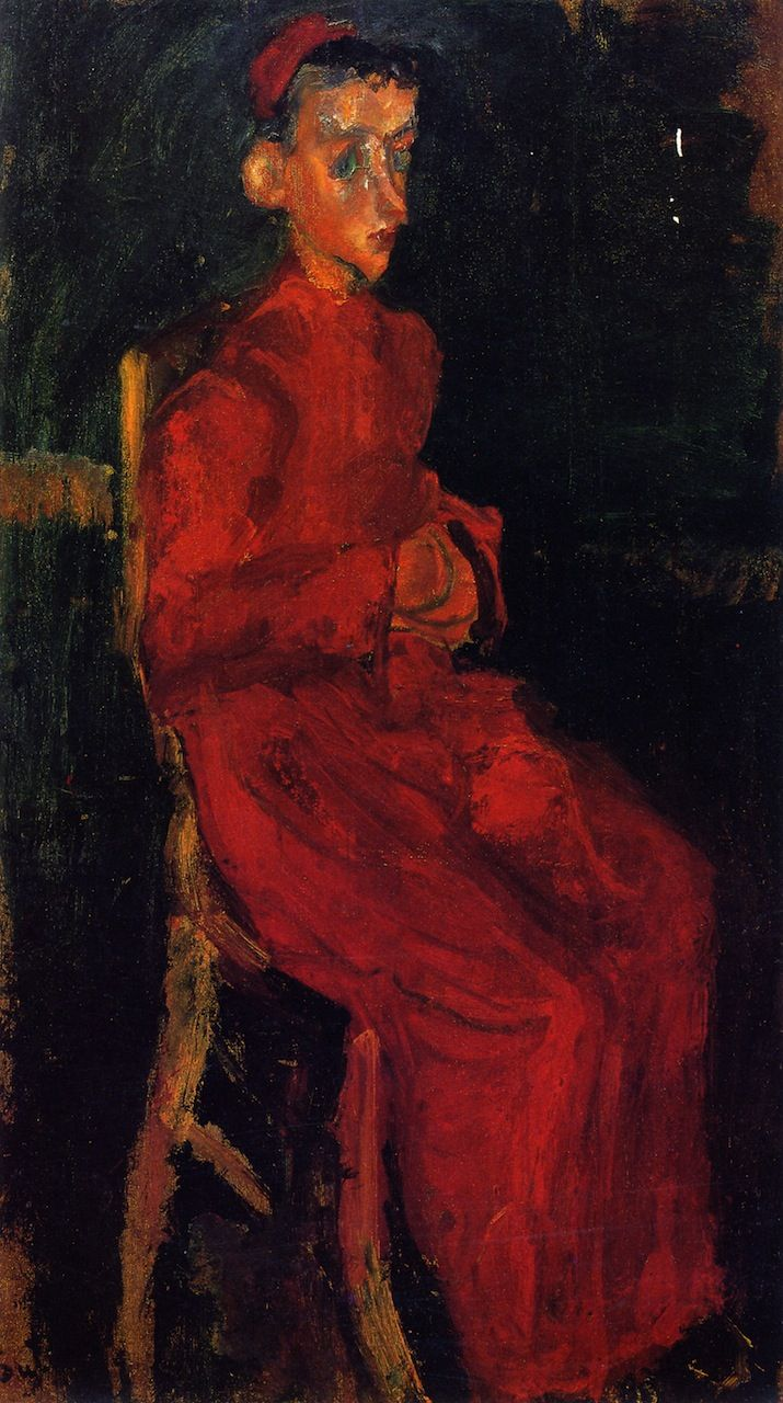 Seated Choir Boy (Chaim Soutine - )- . The artist's portraits often exaggerate certain features, including awkward poses and melancholy facial expressions, imparting an expressive urgency to his subjects. He sometimes worked on series of certain social types, making a number of versions of figures such as pastry cooks, bellboys, and choirboys dressed in their identifiable working clothes.