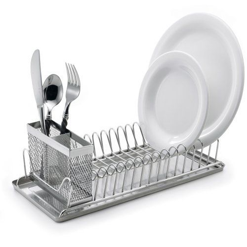 Polder 6115 75 Compact Stainless Steel Dish Rack With Utensil