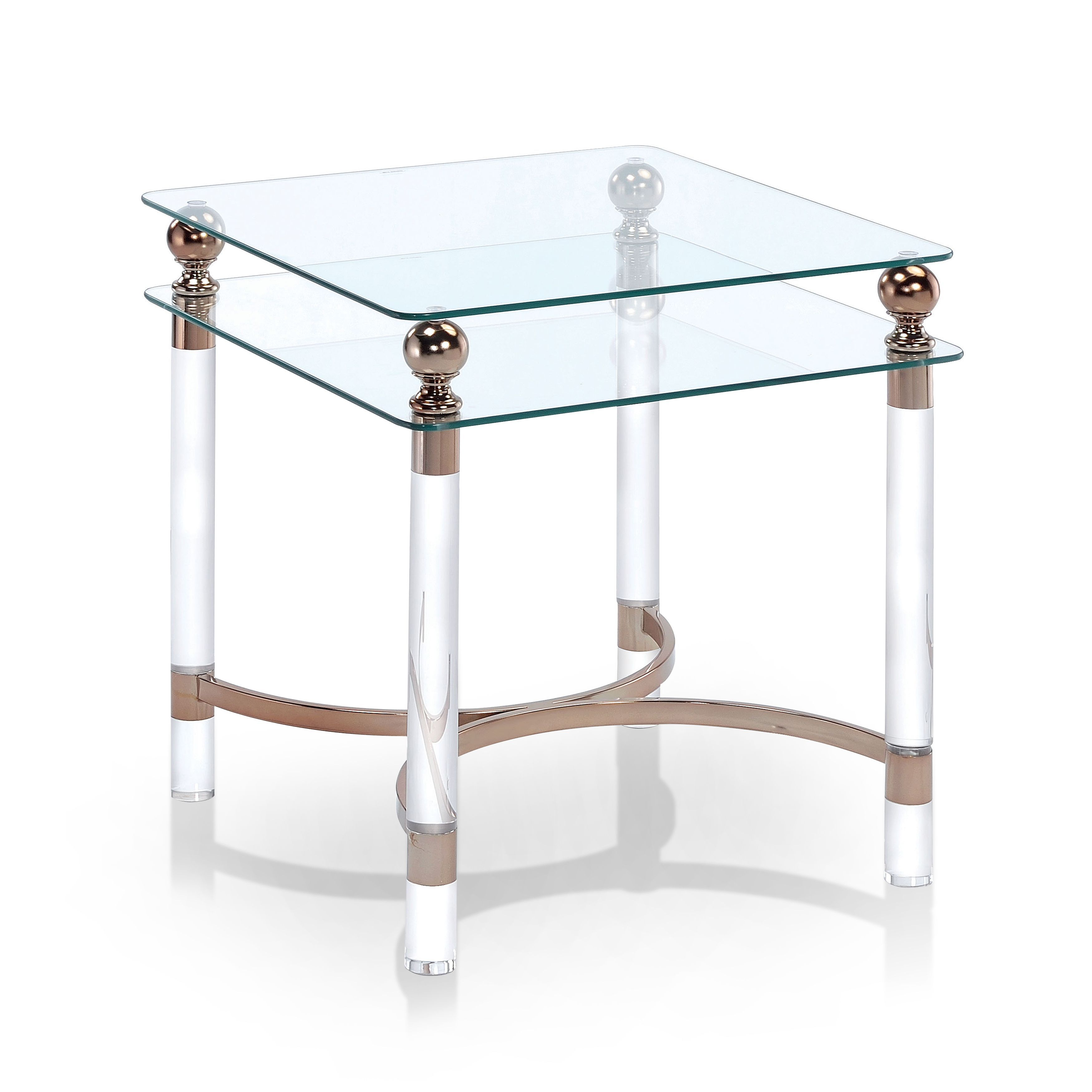 Furniture Of America Angela Contemporary Glass Gold End Table