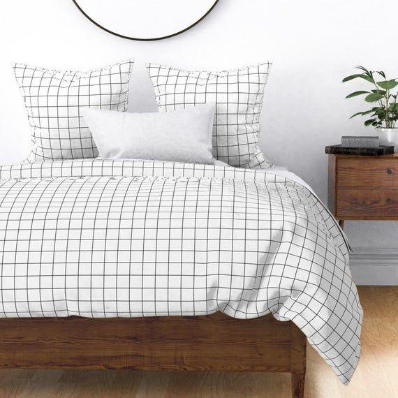 Square Grid Duvet Cover Black And White Windowpane Grid Etsy In 2021 White Bed Covers Black Duvet Cover Duvet Covers