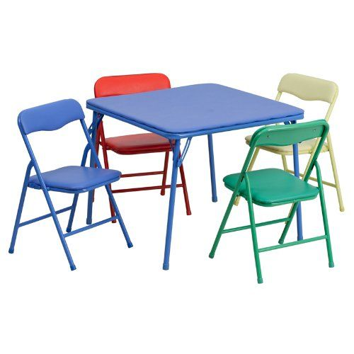 Buy Kids Colorful 5 Piece Folding Table And Chair Set Reviewshomkit Com Com Free Delivery Pos Kids Folding Table Metal Folding Chairs Kids Table And Chairs