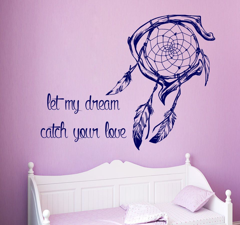 Wall decals quote let my dream catch your love vinyl sticker bedroom
