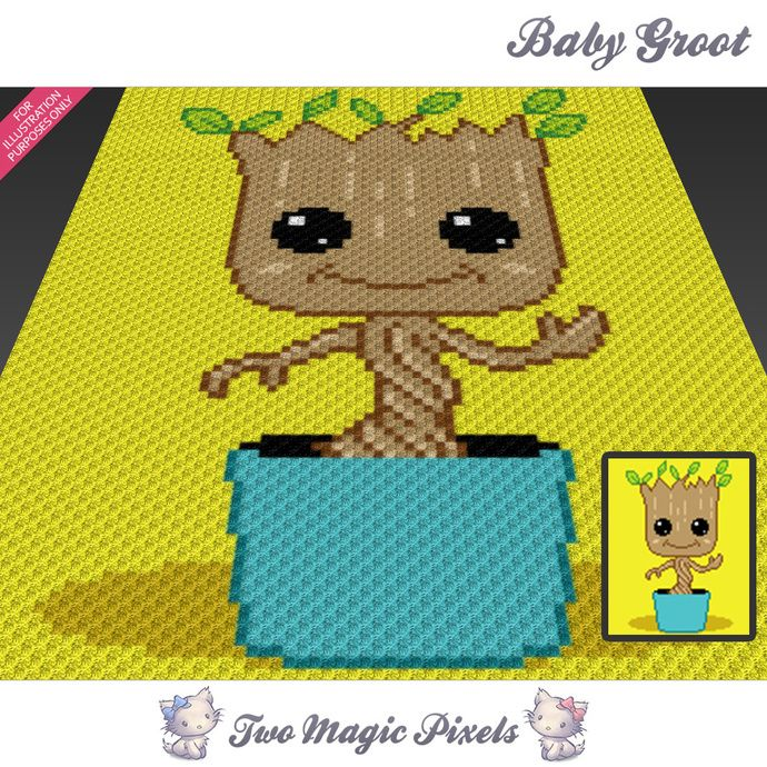 f909d2baa Baby Groot crochet blanket pattern; c2c, knitting, cross stitch graph; pdf  download; no written counts or row-by-row instructions by TwoMagicPixels,  ...
