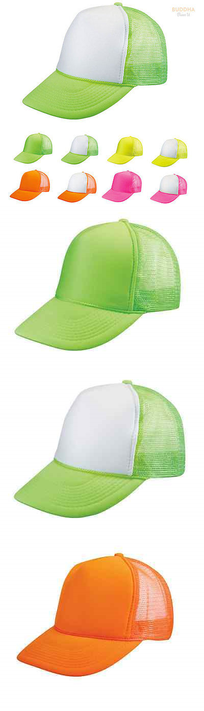 1 Dozen Blank Neon Foam Mesh Trucker Hats Caps Solid Two Tone Wholesale Bulk 308189bcd6fd