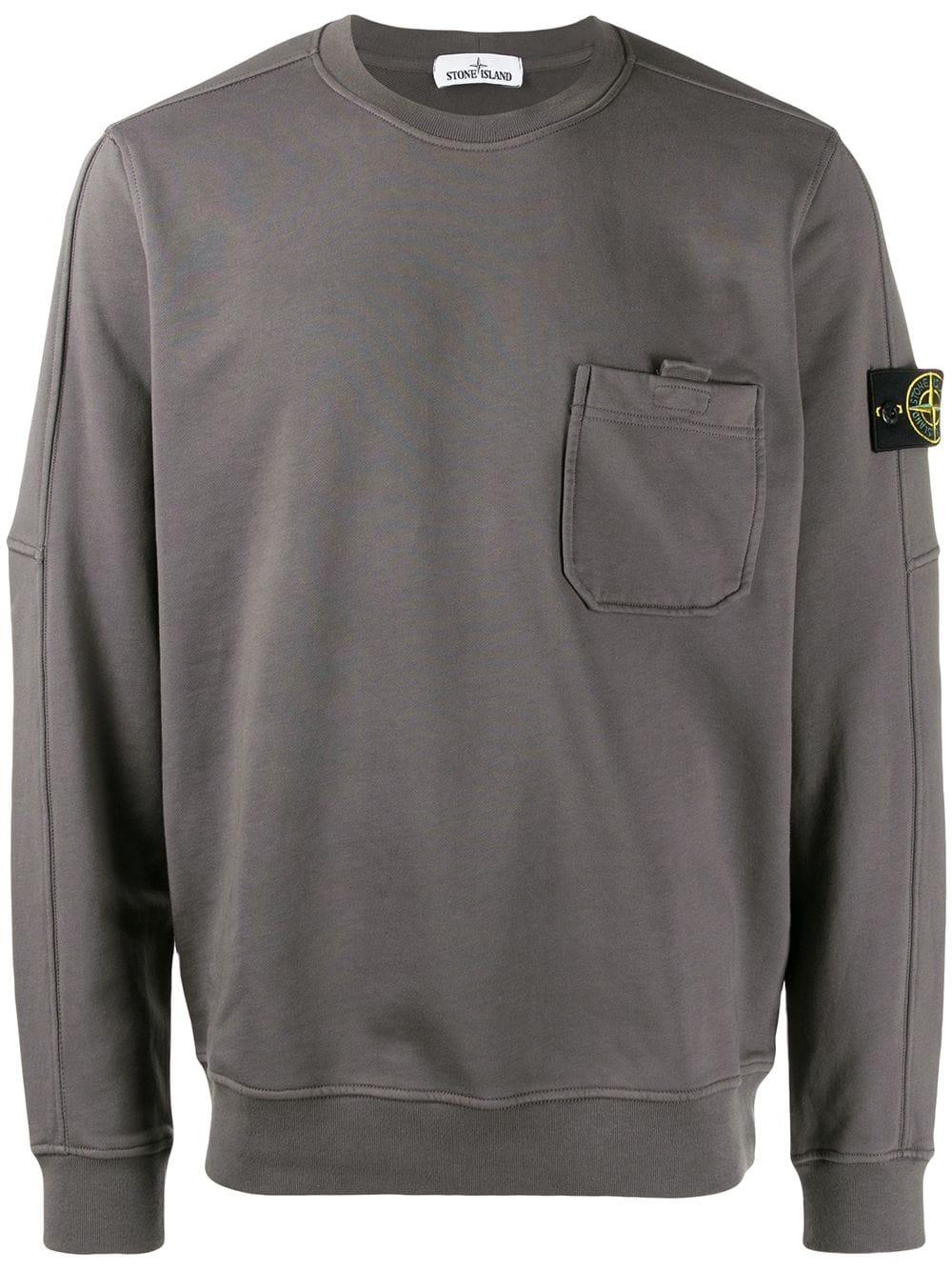 Stone Island Chest Pocket Sweatshirt In Grey Modesens Pocket Sweatshirt Sweatshirts Stone Island
