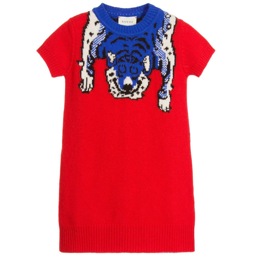 Girls red and blue sweater dress from Gucci | Couture Kids ...