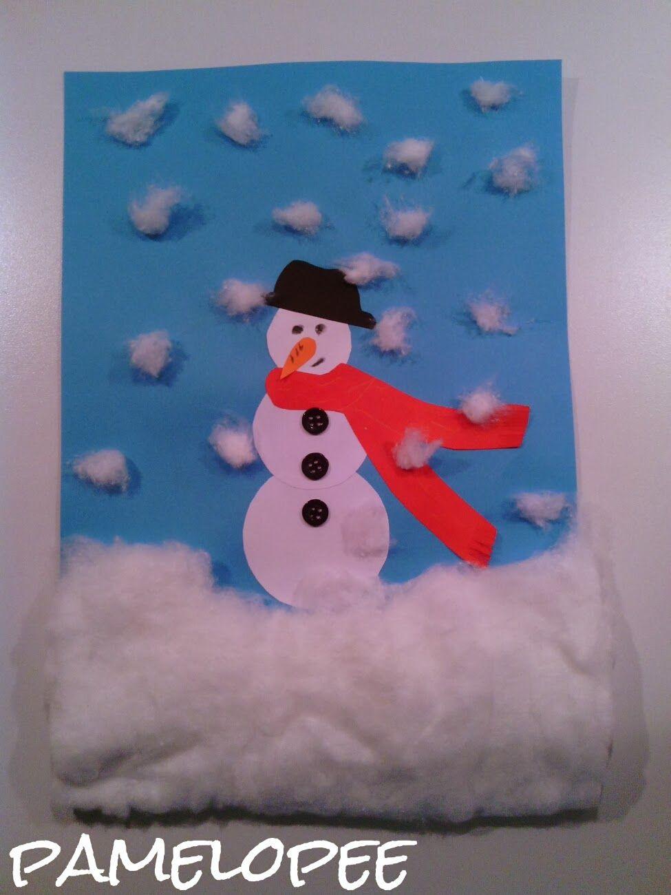 Kinderbastelei: Schneemann-Bild mit Watte