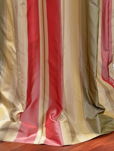Red Green Gold Striped Silk Curtains Windows Treatments