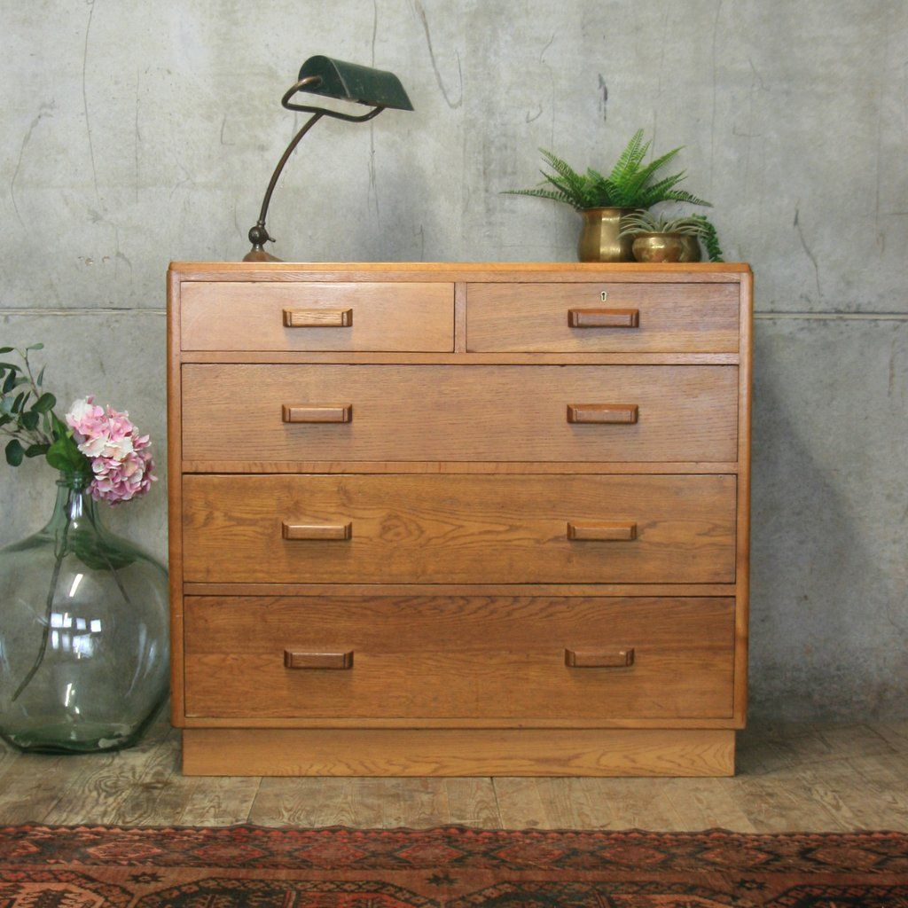 Best Large Mid Century Oak Chest Of Drawers 1710 Vintage 640 x 480