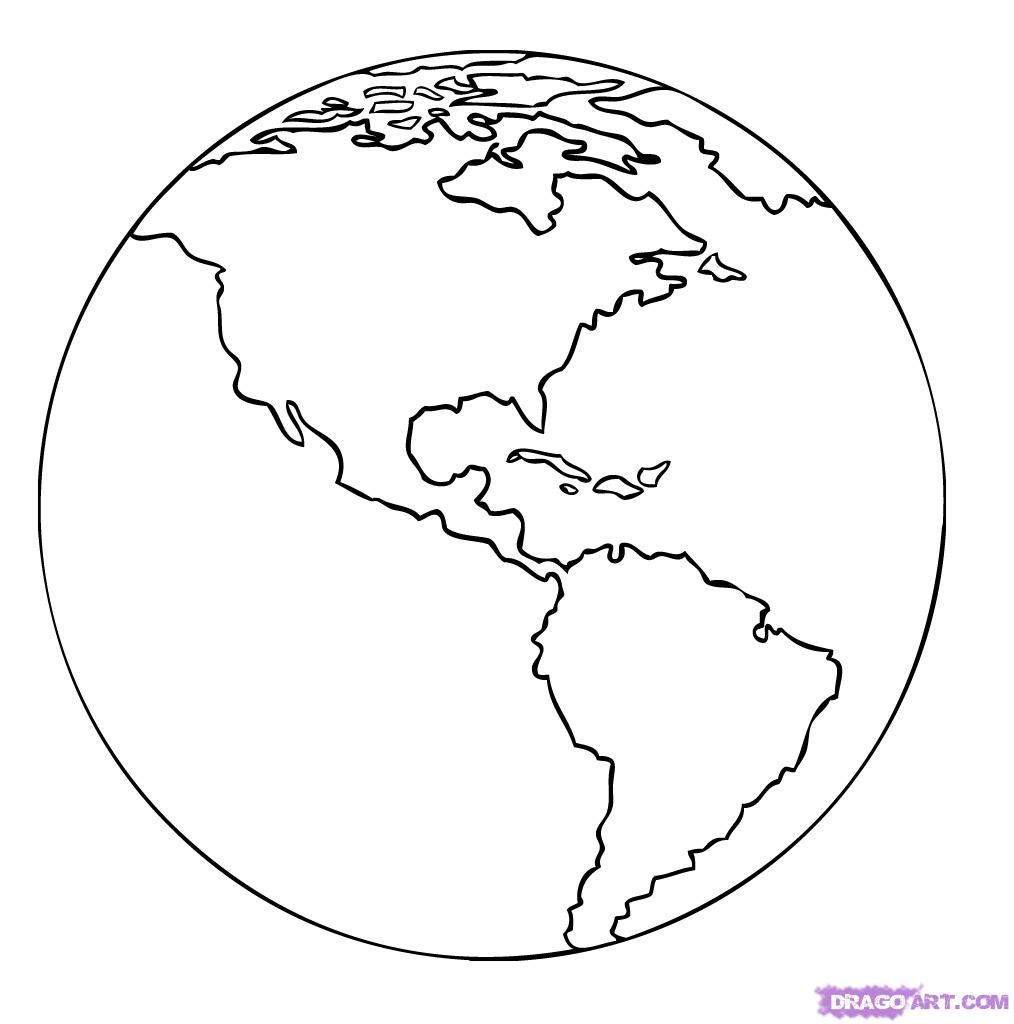 Earth Outline Template How To Draw A Cartoon Earth Step 5 Art