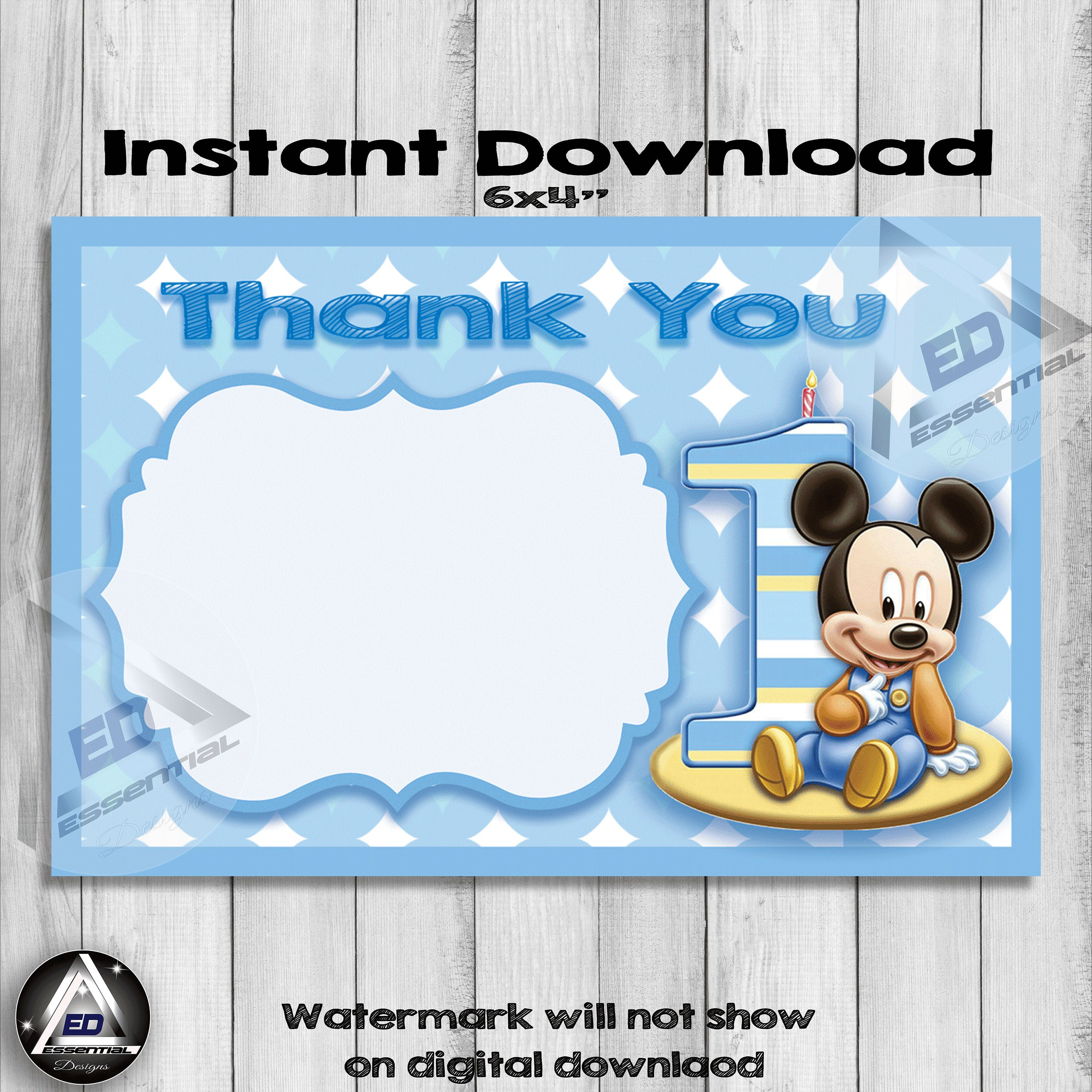 Baby Mickey Mouse Thank You Card Mickey Mouse Birthday