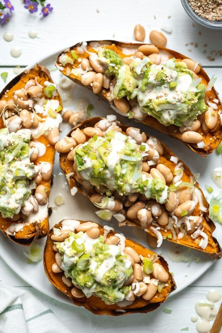 Stuffed Sweet Potato with White Bean and Guacamole | Two Spoons