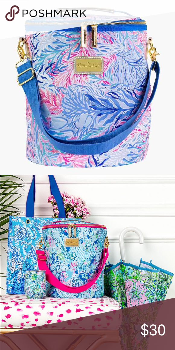 Kaleidoscope Coral Lilly Pulitzer Insulated Beach Cooler with Adjustable Strap