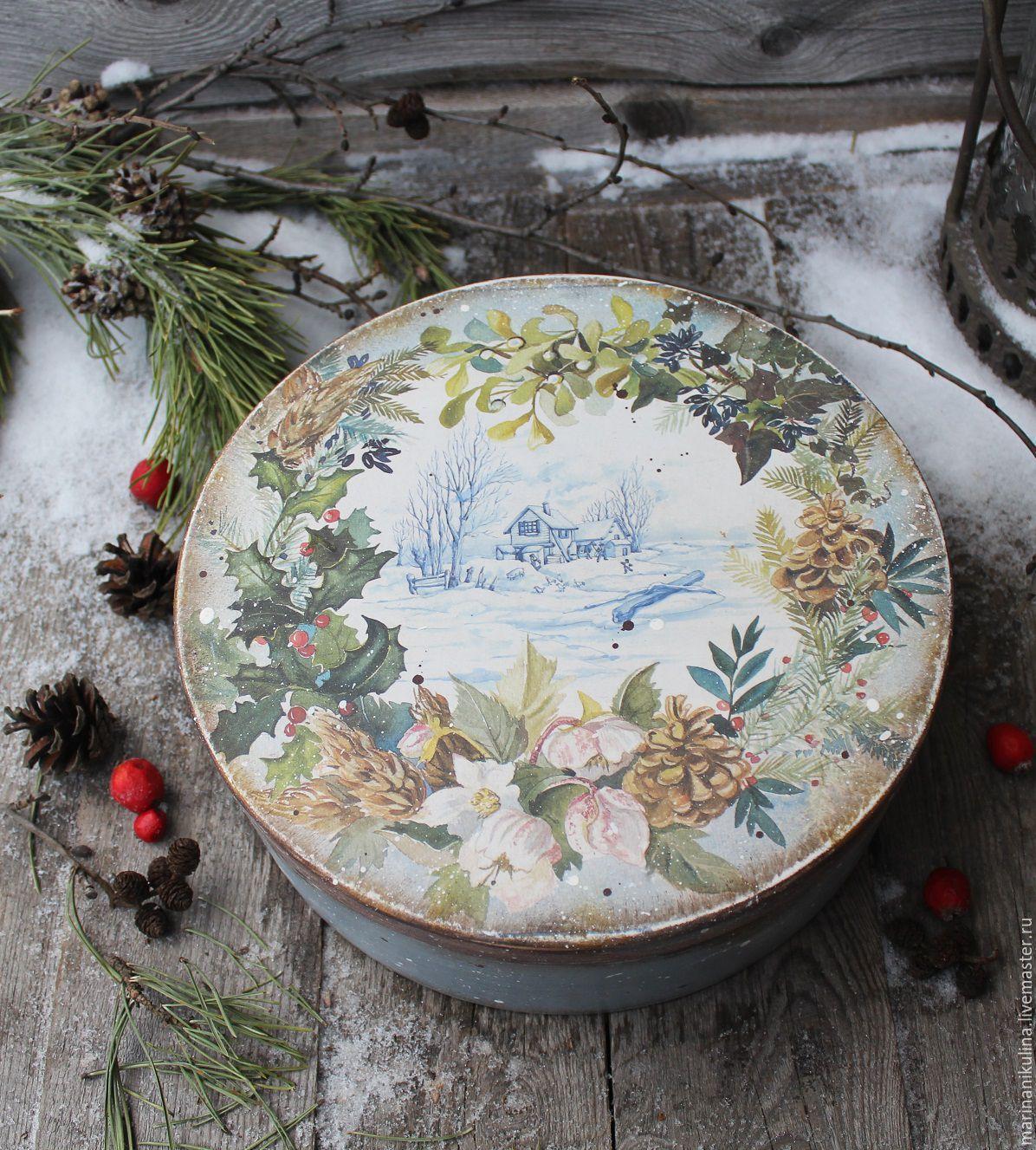 """Купить """"Зимний день"""" короб - голубой, зима, зимний, зимний день, Новый Год"""