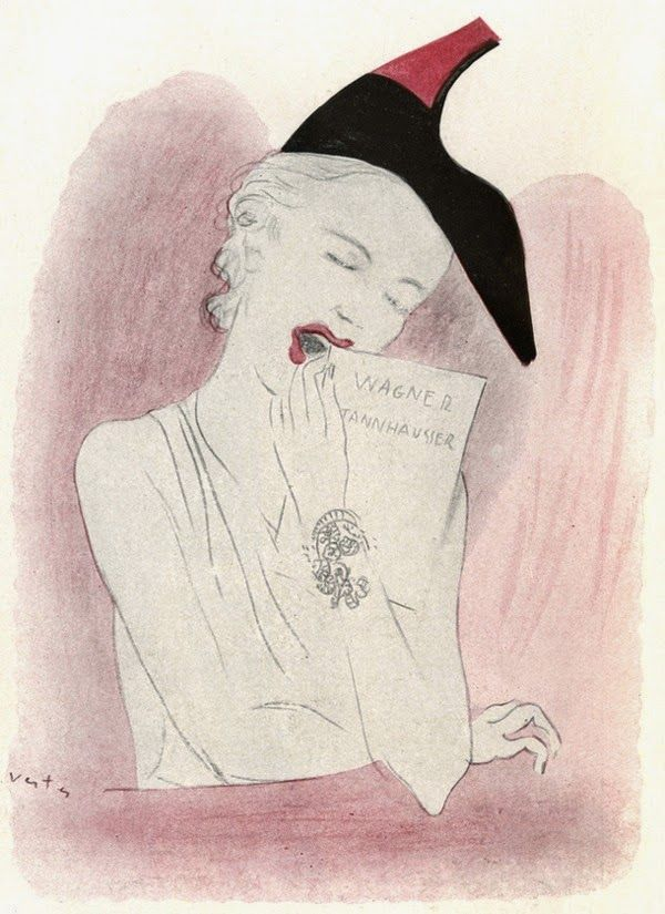 1937 Elsa Schiaparelli shoe-hat created in collaboration with Salvador Dali  (drawing by Marcel Vertès) b8465a4fca9d