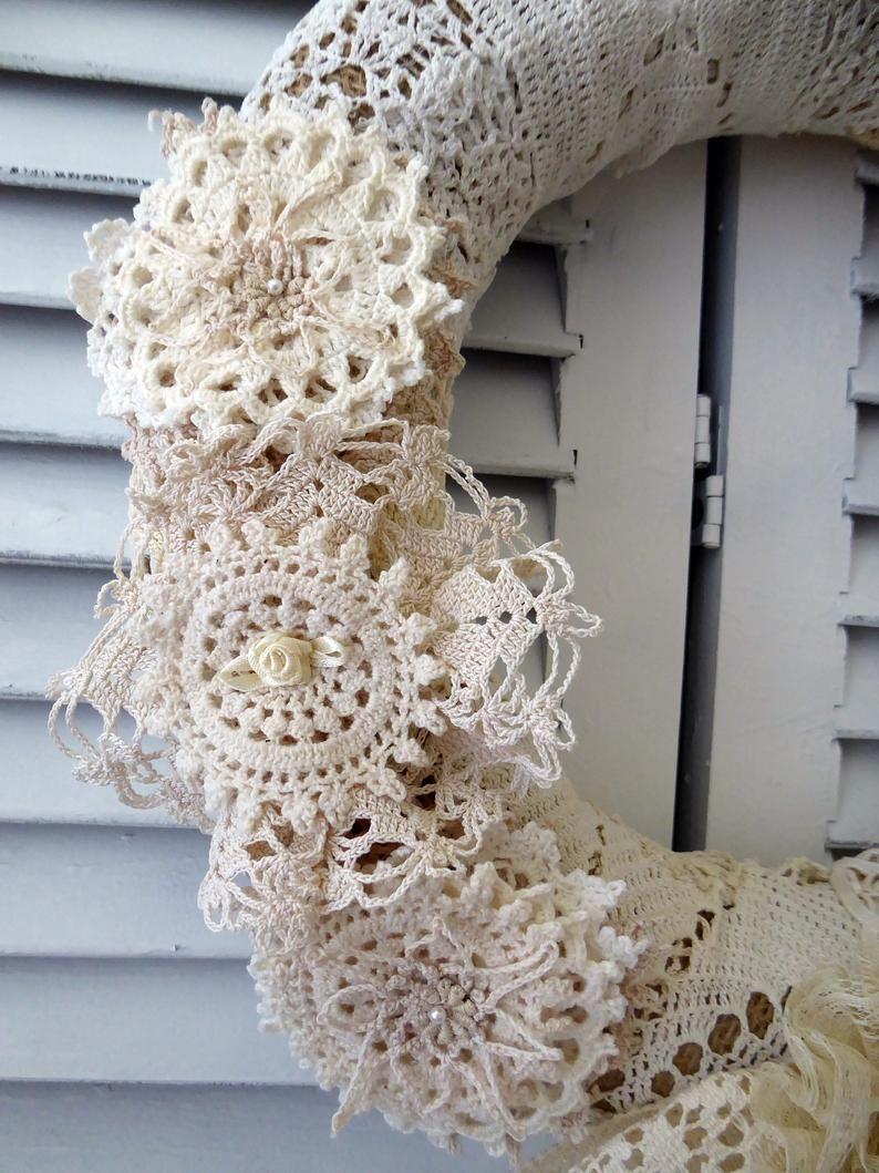 Photo of Vintage natural doily wreath, repurposed linen, handmade fabric wreath
