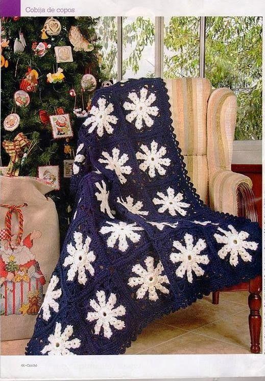 Manta Copo de Nieve Crochet Patron - Patrones Crochet | Crochet ...