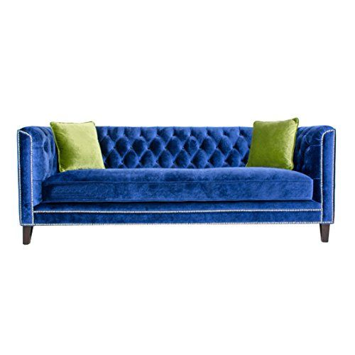 Best Pasargad Victoria Collection Velvet Sofa Navy With Green 400 x 300