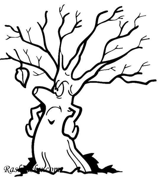 Раскраска Дерево и листик скачать и распечатать бесплатно ...