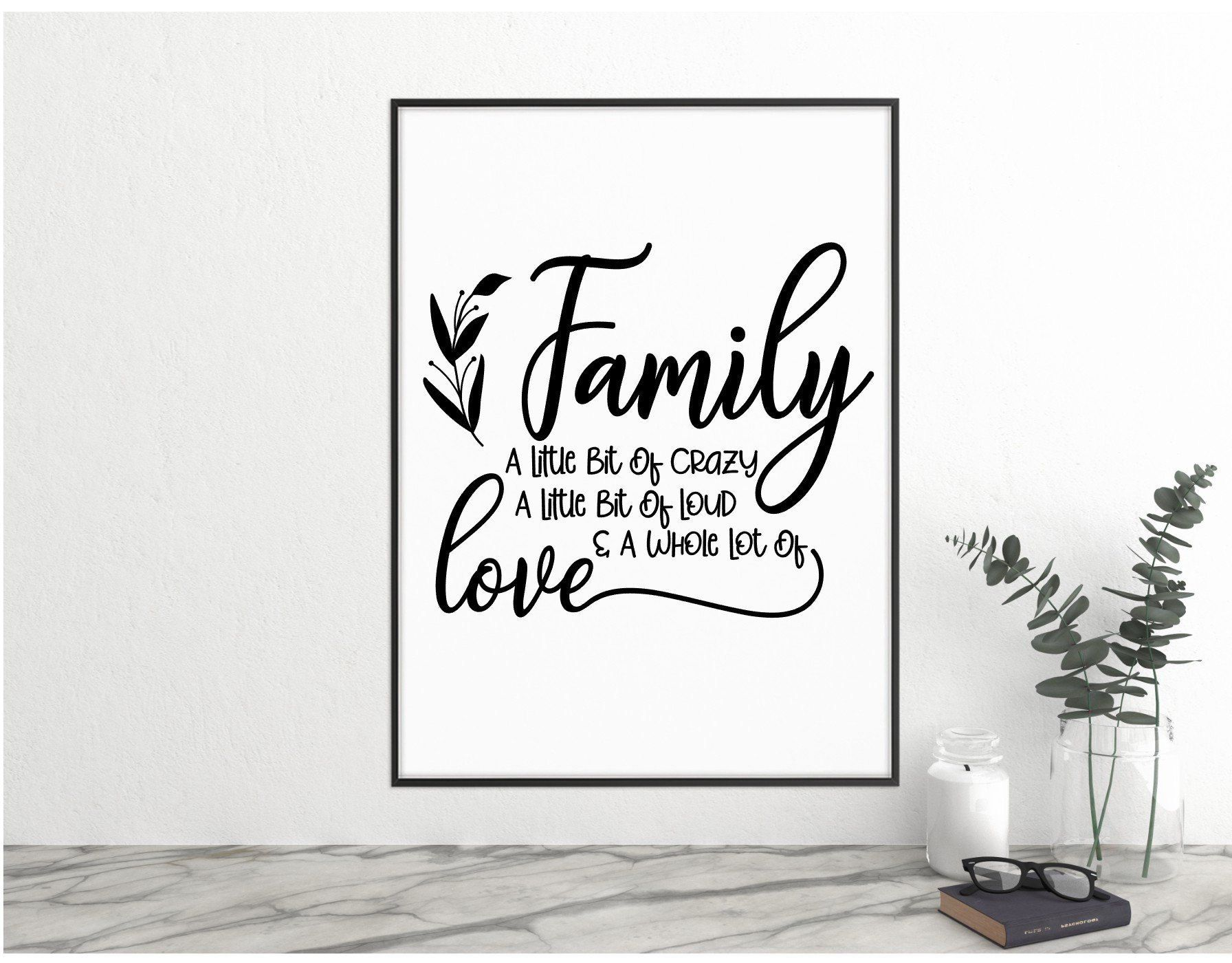 Quote Prints Wall Art Family Sign Black And White Prints