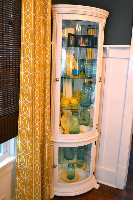 Dining room hutch yellow and blue.  Kitchen.