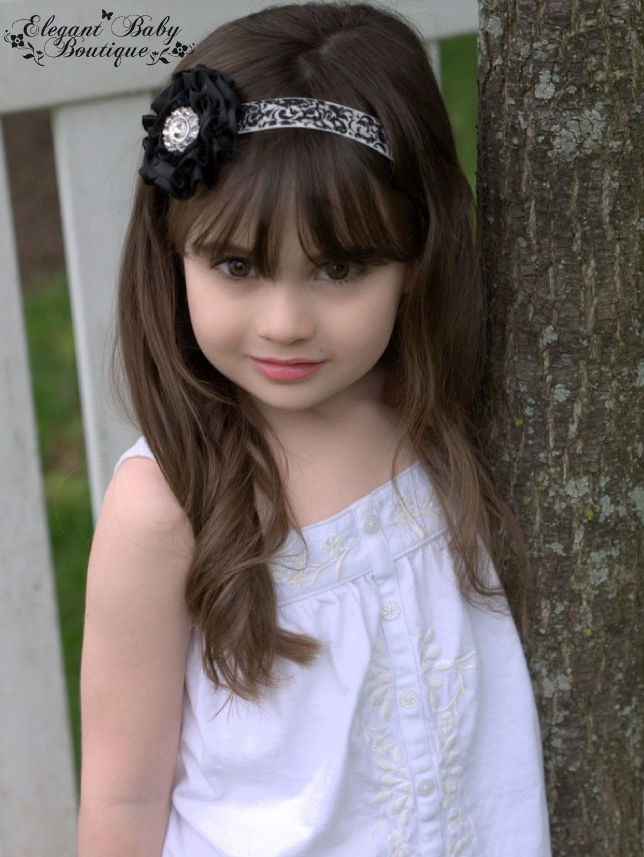 2 5 Quot Black Satin Rose Flower Damask Headband With