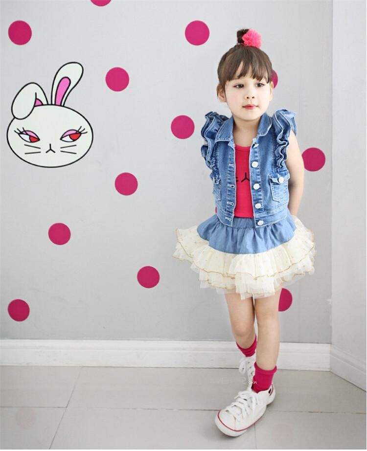 0953fdb73 New Summer Babies Girls Set 2015 2 Pieces Jeans Jacket+Short Dress ...