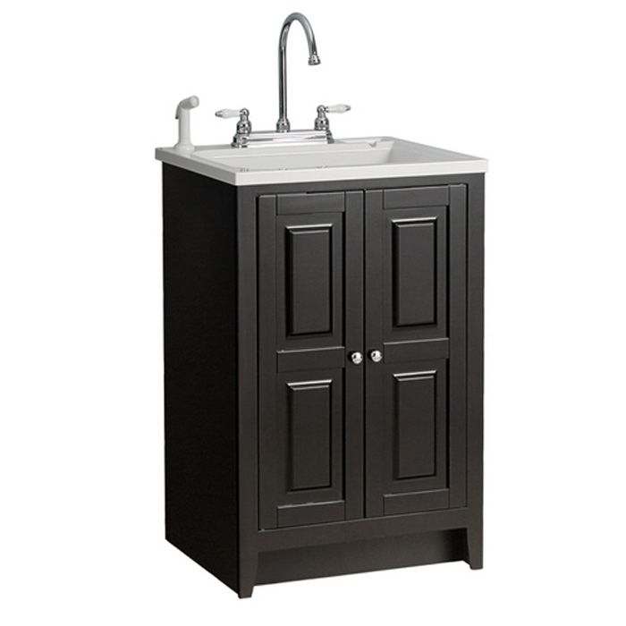 Foremost Brighton All In One Box Laundry Tub Ensemble In Espresso Lowe S Laundry Room Remodel Outdoor Sinks Utility Sink