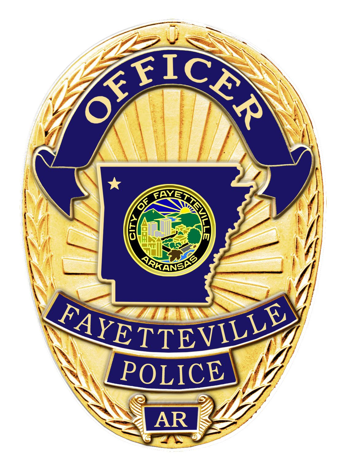 Us State Of Arkansas City Of Fayetteville Police Department Badge Police Badge Sheriff Badge Police